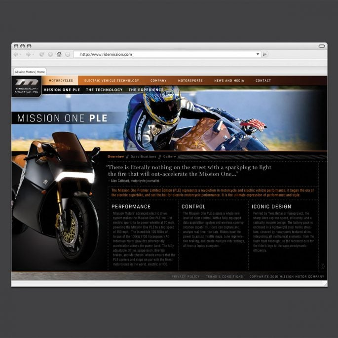 Mission Motors Website